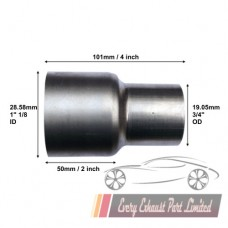 """28.58mm (1"""" 1/8) ID to 19.05mm (3/4"""") OD Exhaust Reducer/Expander"""