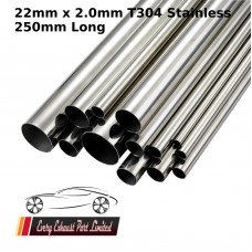 22mm x 2mm Stainless Steel (T304) Tube - 250mm Long