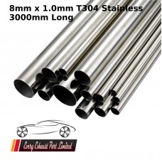 8mm x 1.0mm Stainless Steel (T304) Tube - 3000mm Long