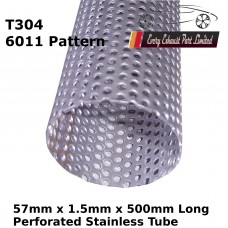 57mm x 1.5mm Stainless Steel (T304 Perforated) Tube - 500mm Long