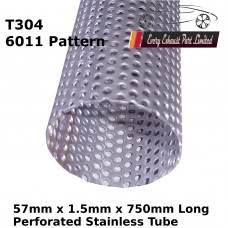 57mm x 1.5mm Stainless Steel (T304 Perforated) Tube - 750mm Long